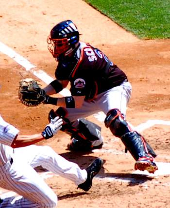 Brian Schneider blocking the plate in 2008